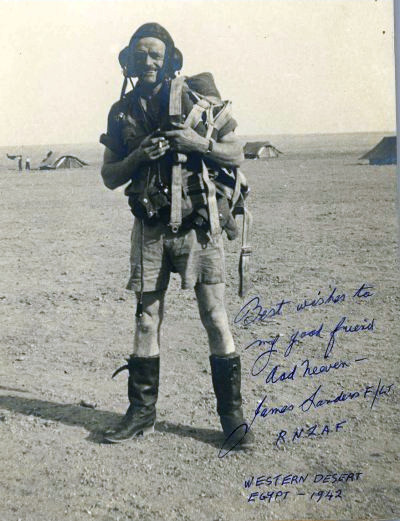 Best wishes to my good friend Aad Neeven - James Sanders F/LT. R.N.L.A.F. Western Desert Egypt - 1942